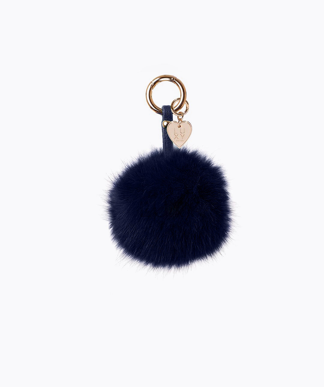 FOX FUR POM POM KEYRING -  NAVY