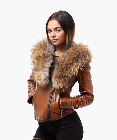 LUXY BIKER - BROWN LEATHER & RACCOON