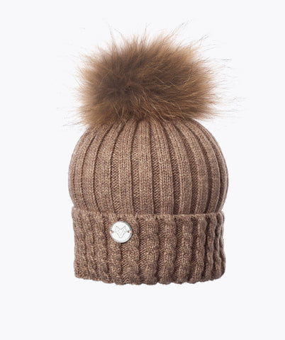 MENS BOSTON POM POM HAT - OATMEAL