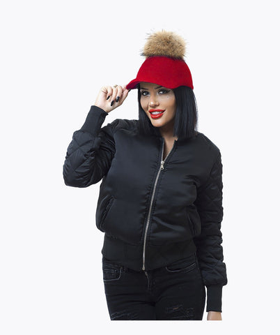UBER FUR POM POM CAPS - RED