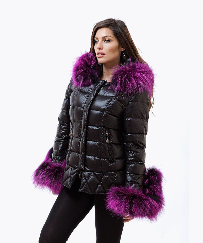 Black Quilted Down Jacket - Purple