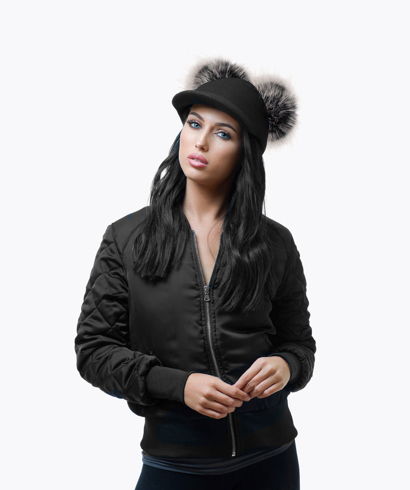 Limited Edition! UBER DOUBLE FUR POM POM CAP - ICE WHITE