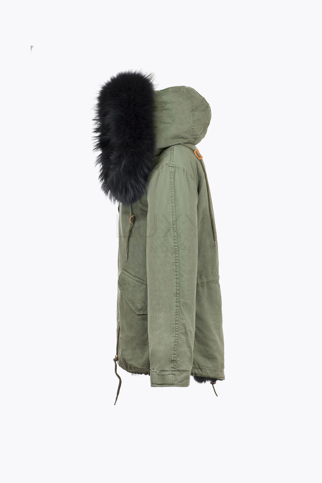 MEN'S KHAKI FUR PARKA - BLACK