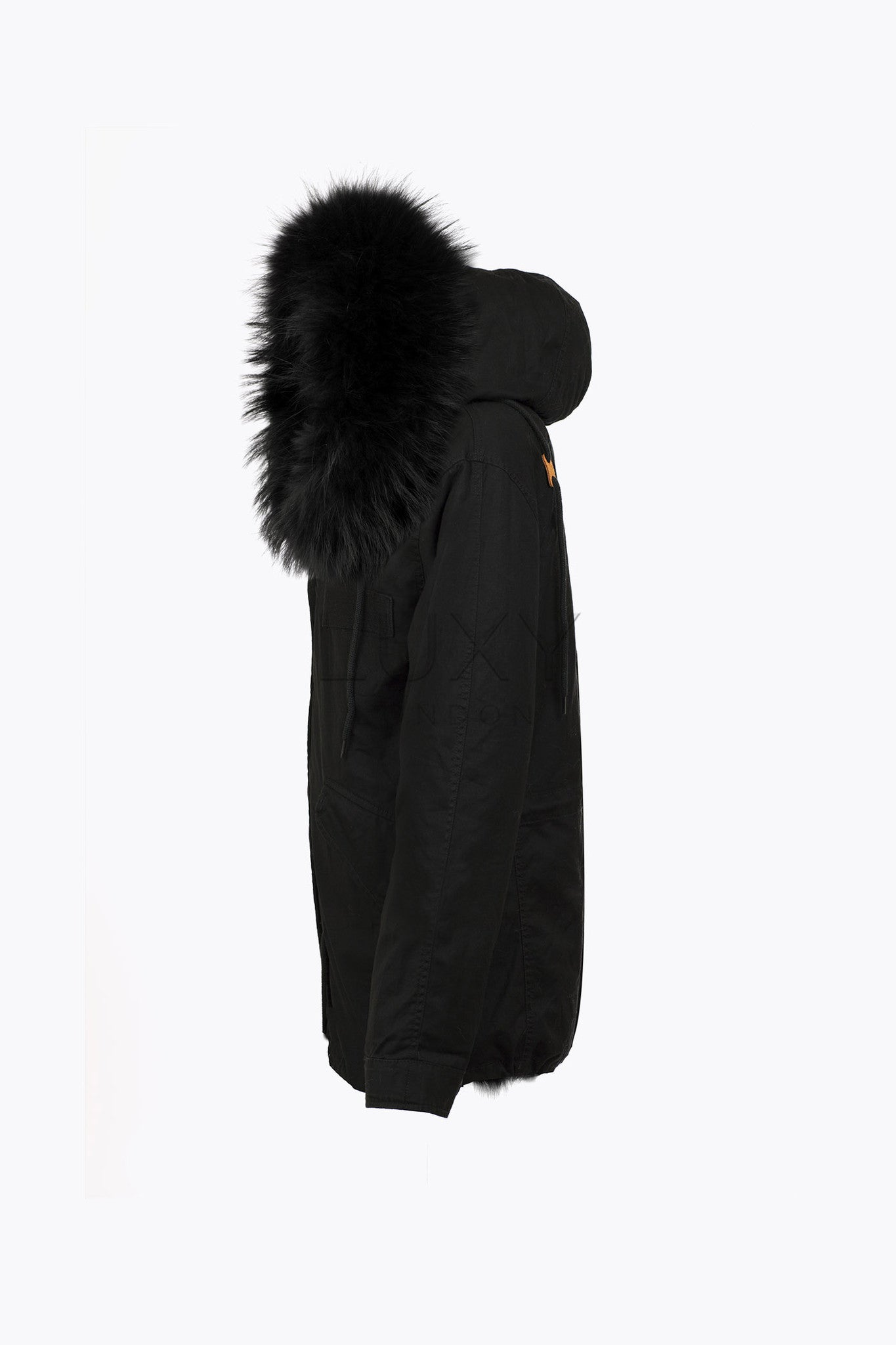 MEN'S BLACK FUR PARKA - BLACK