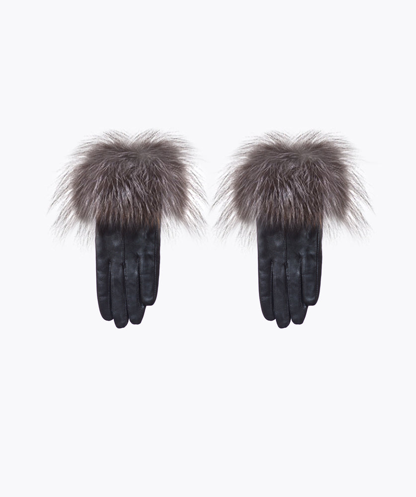Silver Leather and Fox Fur Gloves