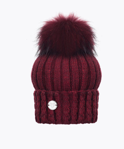 BOSTON POM POM HAT  - WINE