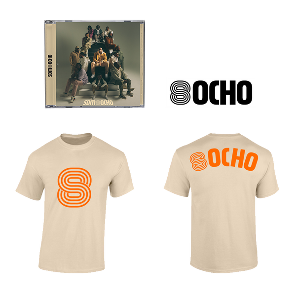 "Pack CD Dédicacé ""Ocho"" + Tee-Shirt Naturel + Sticker"