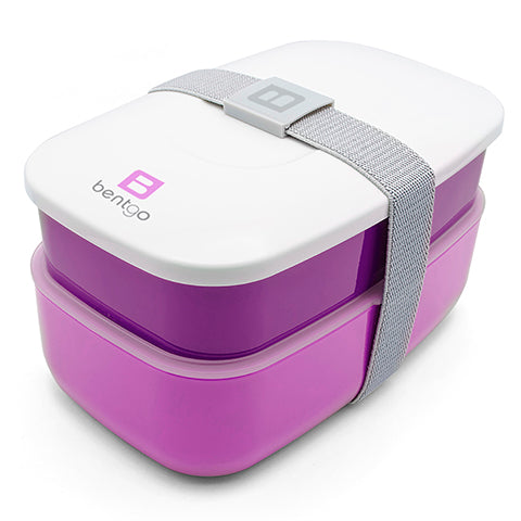 Bentgo All-in-one Stackable Lunch Box Solution-Sleek Modern Bento Box Includes 2 Stackable Containers, Built-in Plastic Silverware, Sealing Strap