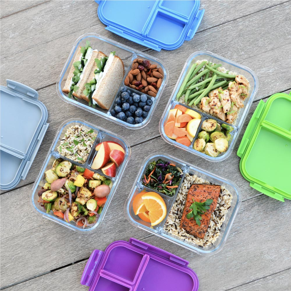 Bentgo Glass BPA Free Glass Lunch Container with 3 Compartments