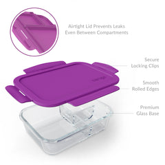 Bentgo Glass Lunchbox – 3 Compartment Glass Lunch Container with Leak-Proof Lid