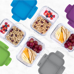 Bentgo Glass Snack – 2-Compartment Glass Snack Container with Leak-Proof Lid