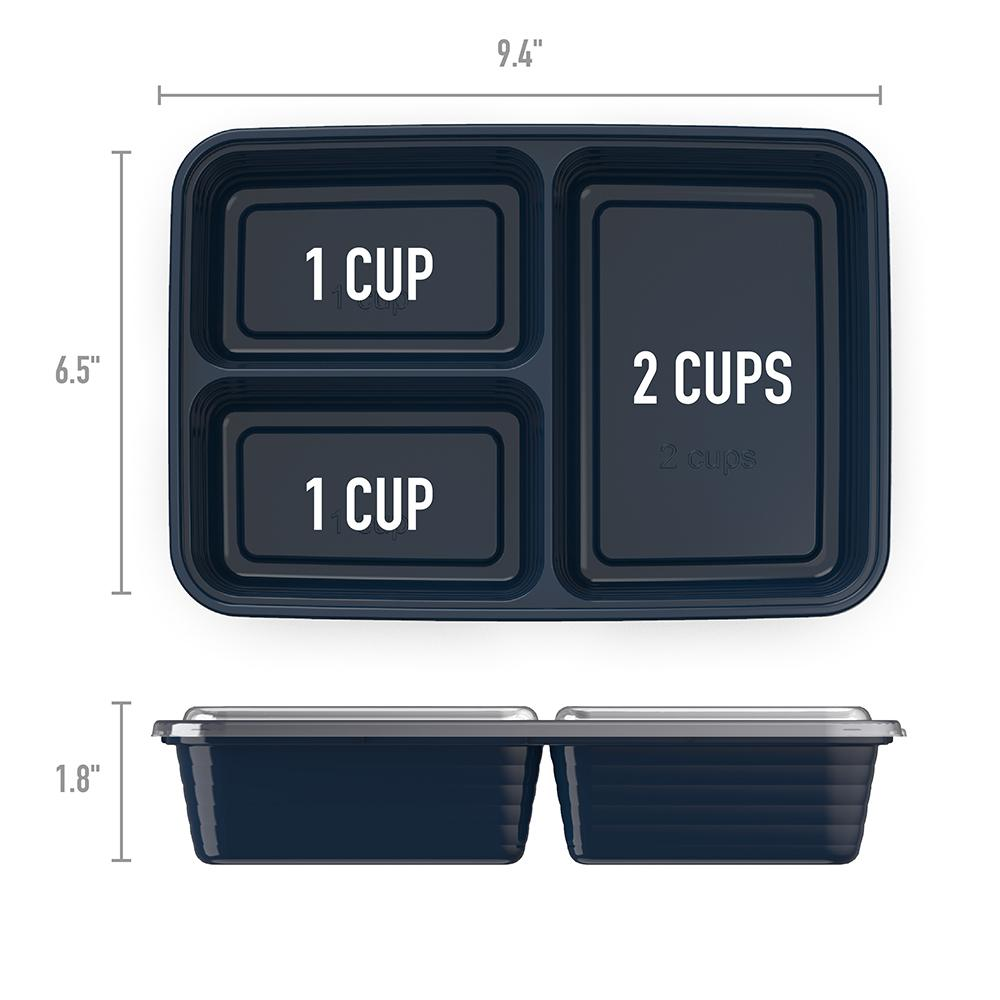 Bentgo Prep 3-Compartment Meal-Prep Containers