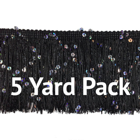 "Black (5 yard Pack) - 3"" Hologram Sequin Fringe"