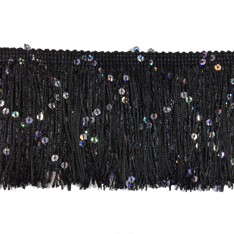 "Black - 3"" Hologram Sequin Fringe"