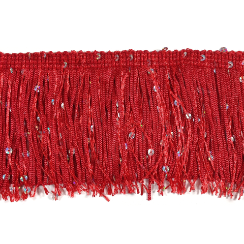 "Red - 3"" Hologram Sequin Fringe"