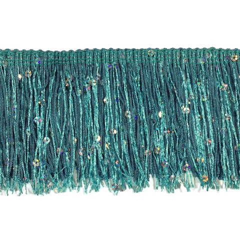"Light Turquoise - 3"" Hologram Sequin Fringe"