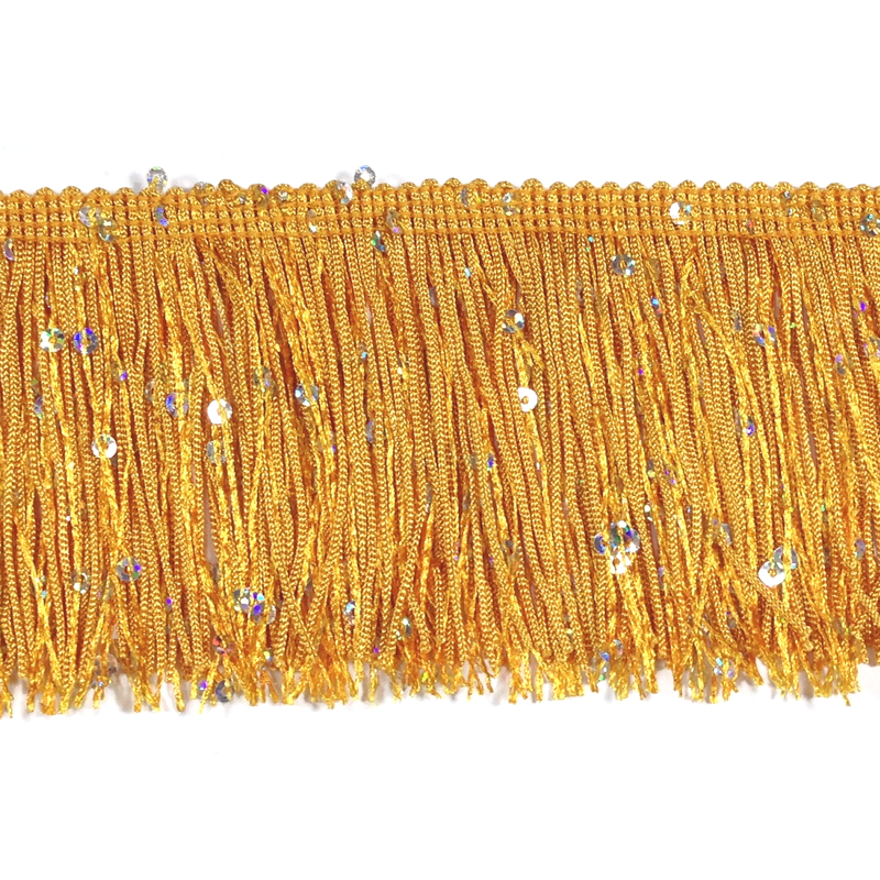 "Yellow Gold - 3"" Hologram Sequin Fringe"