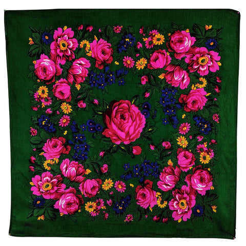 Dark Emerald Green - Floral Scarves