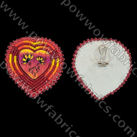 Hearts/Wood Inlay - Bling Earrings