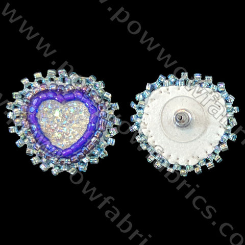 Clear Bumpy Heart - Bling Earrings