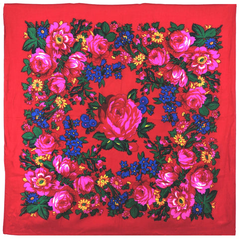 Light Red - Floral Scarves