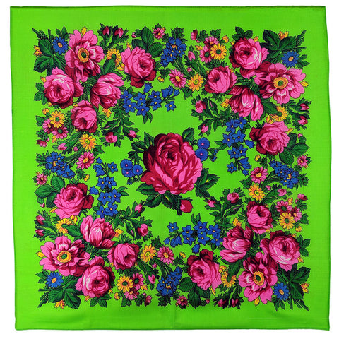 Neon Green - Floral Scarves