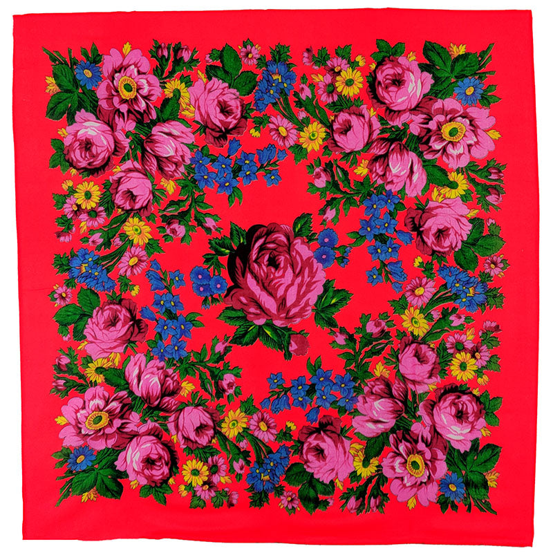 Neon Red - Floral Scarves