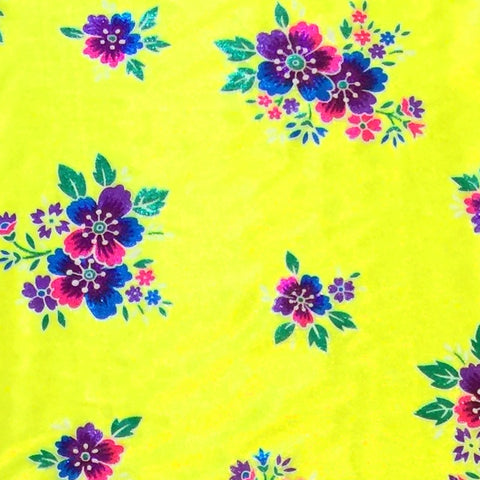 Neon Yellow / Pattern #1 - Crystal Floral Satin