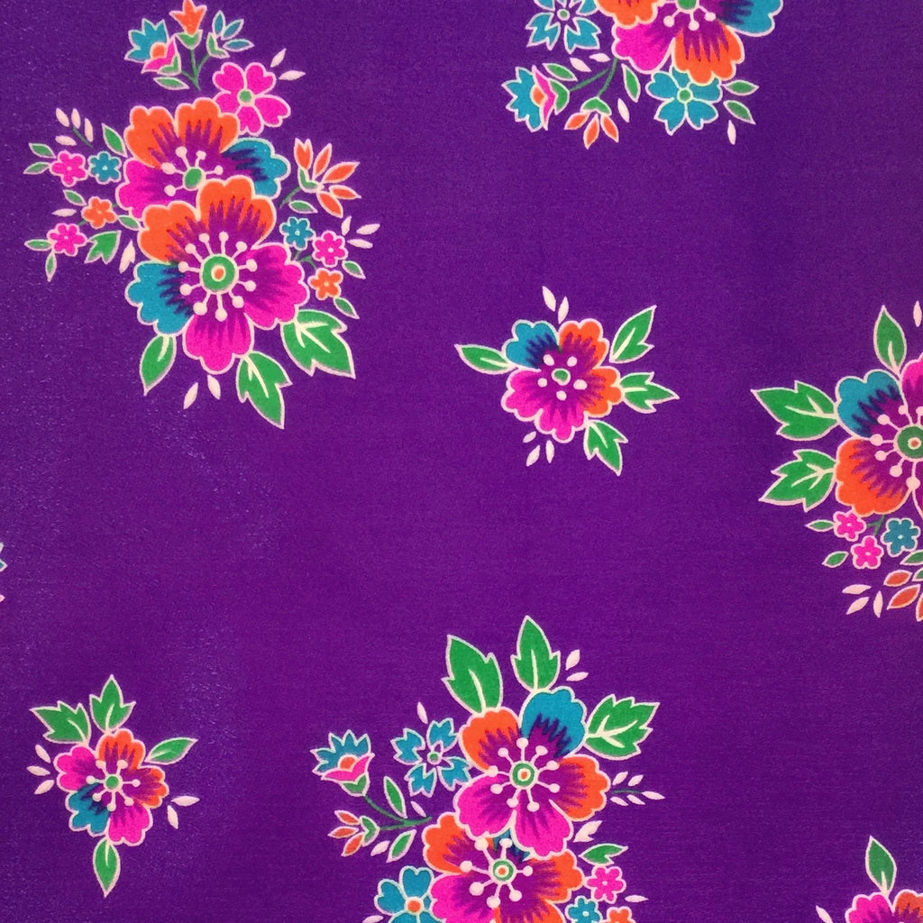 Purple / Pattern #1 - Crystal Floral Satin