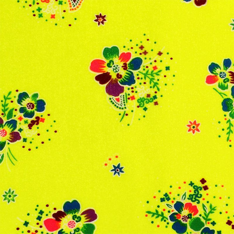 Neon Yellow / Pattern #2 - Crystal Floral Satin