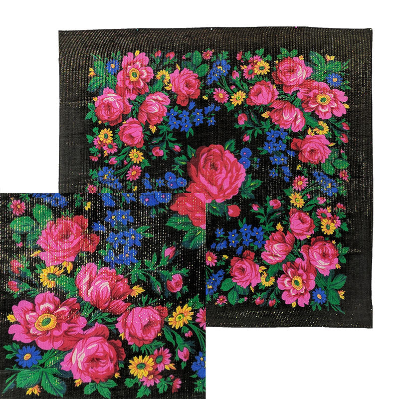 Black - Metallic Floral Scarves