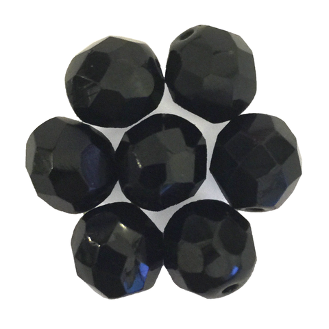 Black - Glass Fire Polished Beads, 8mm