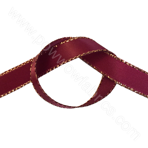"Burgundy/Gold - 3/8"" Metallic Ribbon"