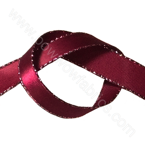"Burgundy/Silver - 3/8"" Metallic Ribbon"