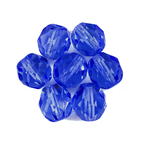Capri Blue - Glass Fire Polished Beads, 8mm