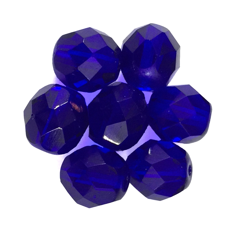 Cobalt - Glass Fire Polished Beads, 8mm