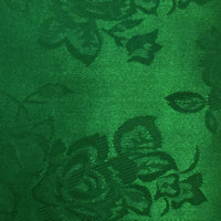 Dark Emerald Green - Floral Satin