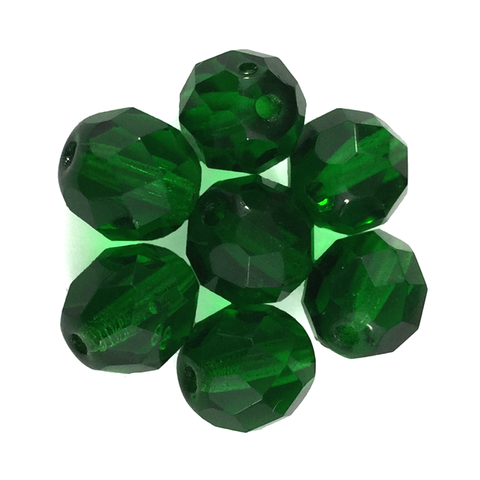 Forest Green - Glass Fire Polished Beads, 8mm