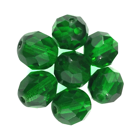 Dark Green - Glass Fire Polished Beads, 8mm
