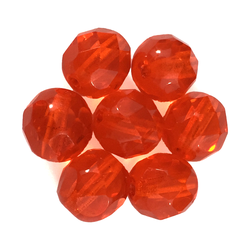 Dark Orange - Glass Fire Polished Beads, 8mm
