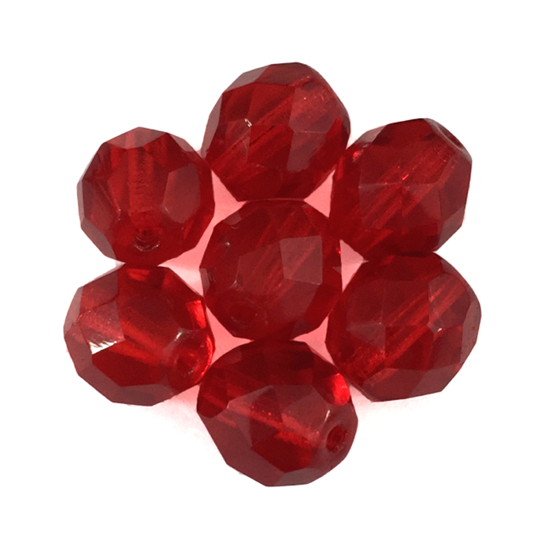 Dark Red - Glass Fire Polished Beads, 8mm