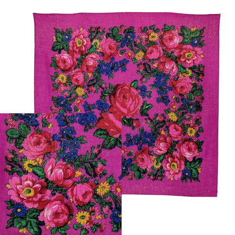 Dark Fuchsia - Metallic Floral Scarves