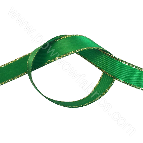 "Emerald Green/Gold - 3/8"" Metallic Ribbon"