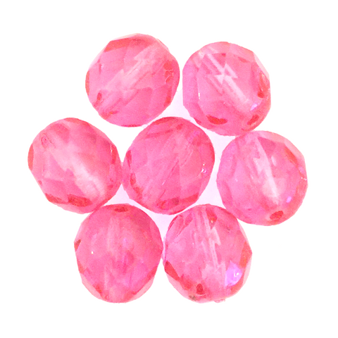 Hot Pink - Glass Fire Polished Beads, 8mm