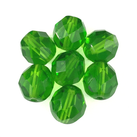 Green - Glass Fire Polished Beads, 8mm