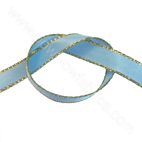 "Blue/Gold - 3/8"" Metallic Ribbon"