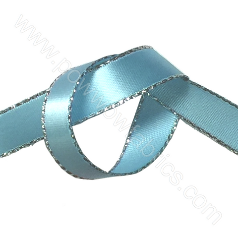 "Blue/Silver - 3/8"" Metallic Ribbon"