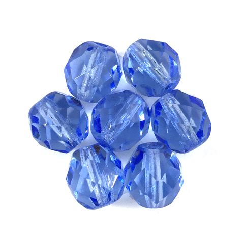 Blue - Glass Fire Polished Beads, 8mm