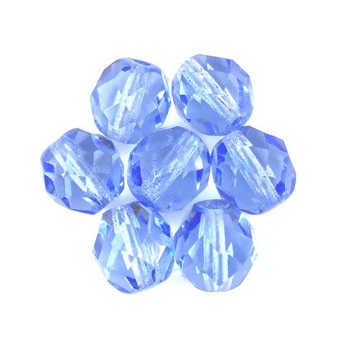 Light Blue - Glass Fire Polished Beads, 8mm