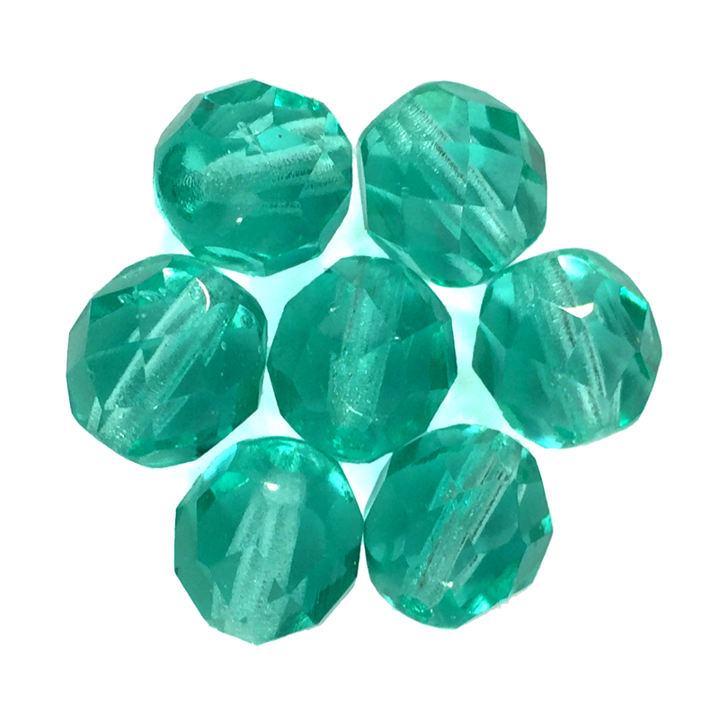 Teal - Glass Fire Polished Beads, 8mm